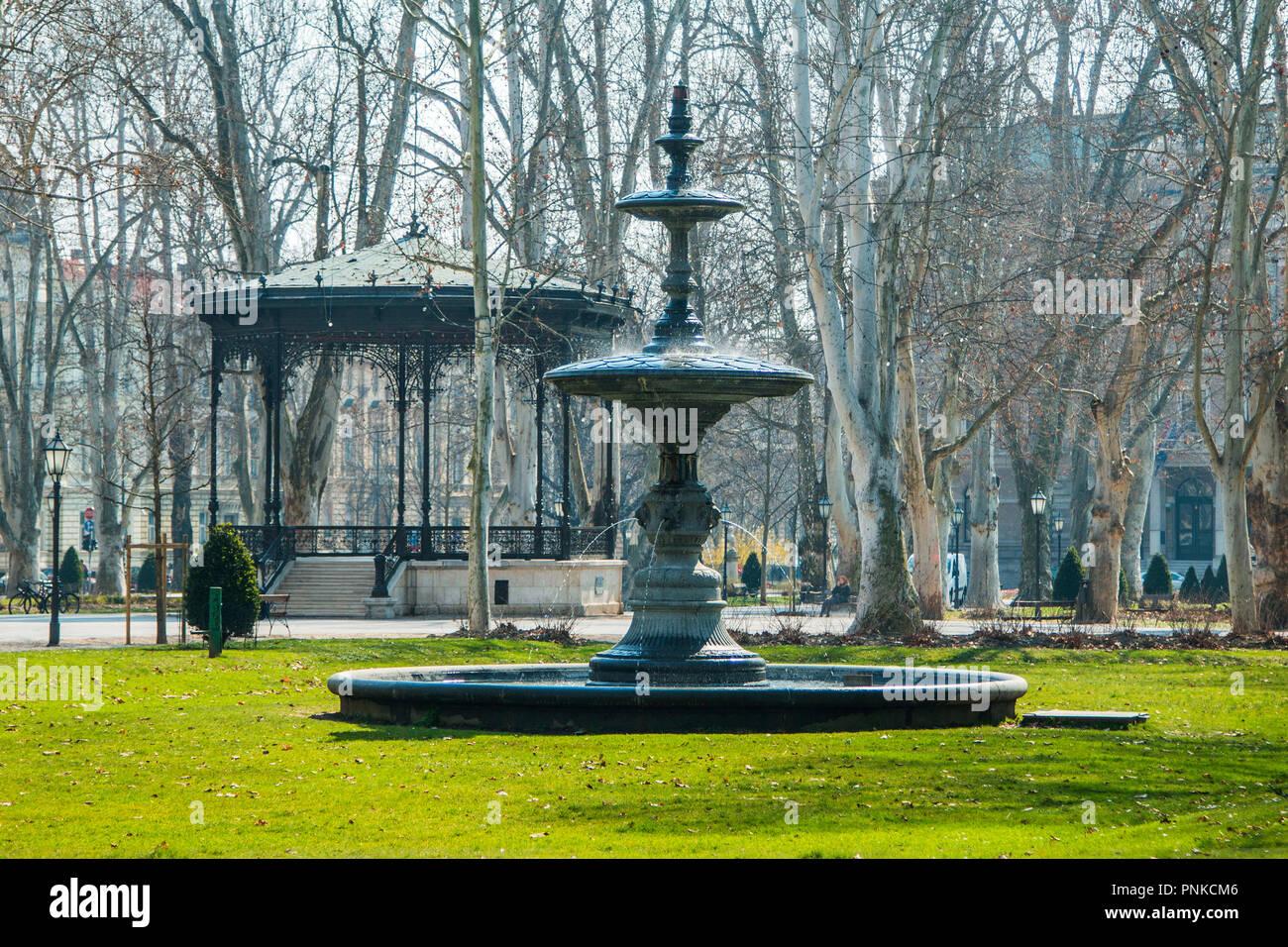 Fountain And Pavilion In Park Zrinjevac In Center Of Zagreb In Spring Stock Photo Alamy
