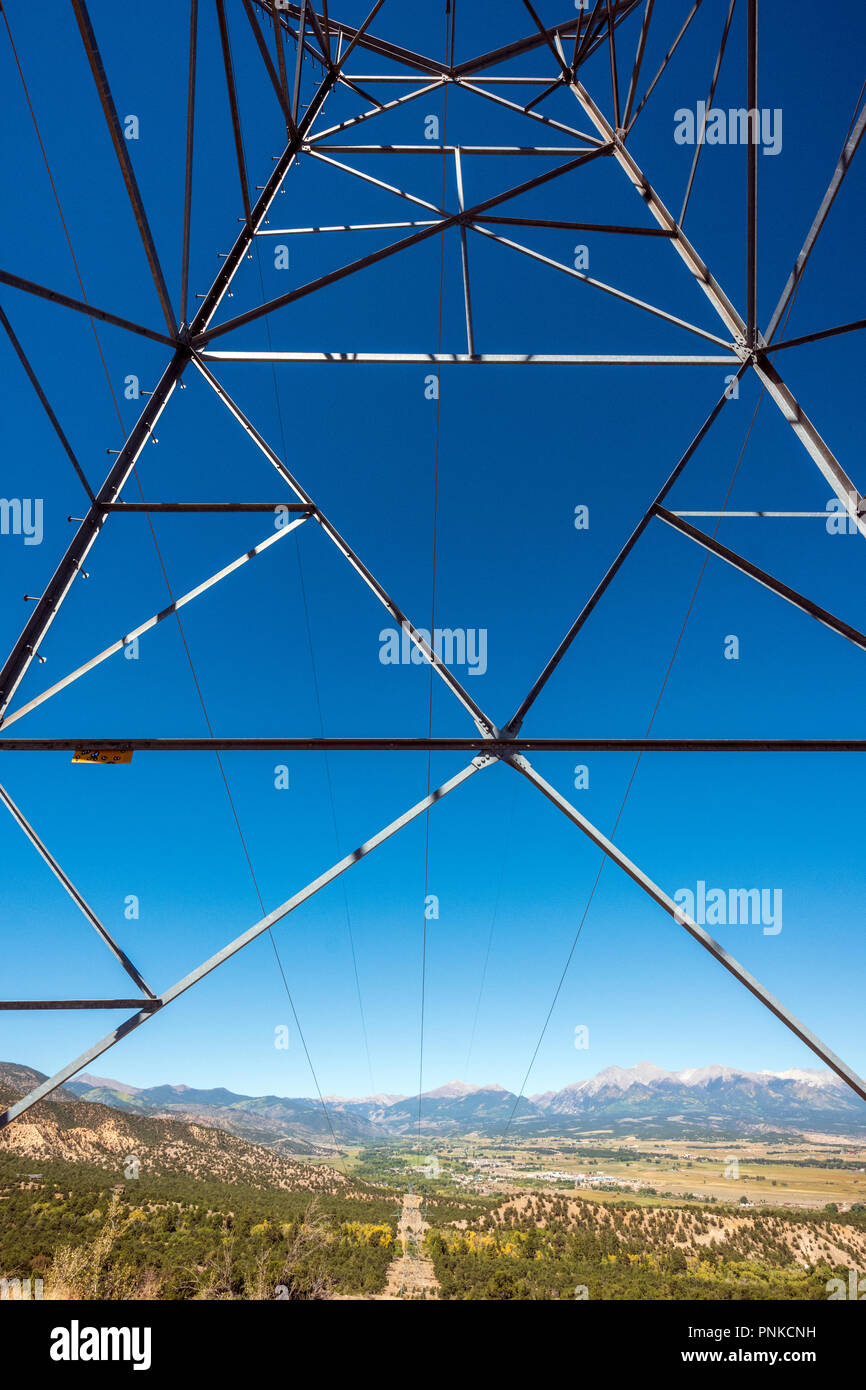 Graphic view of high voltage power lines and tower; Salida; Colorado; USA - Stock Image