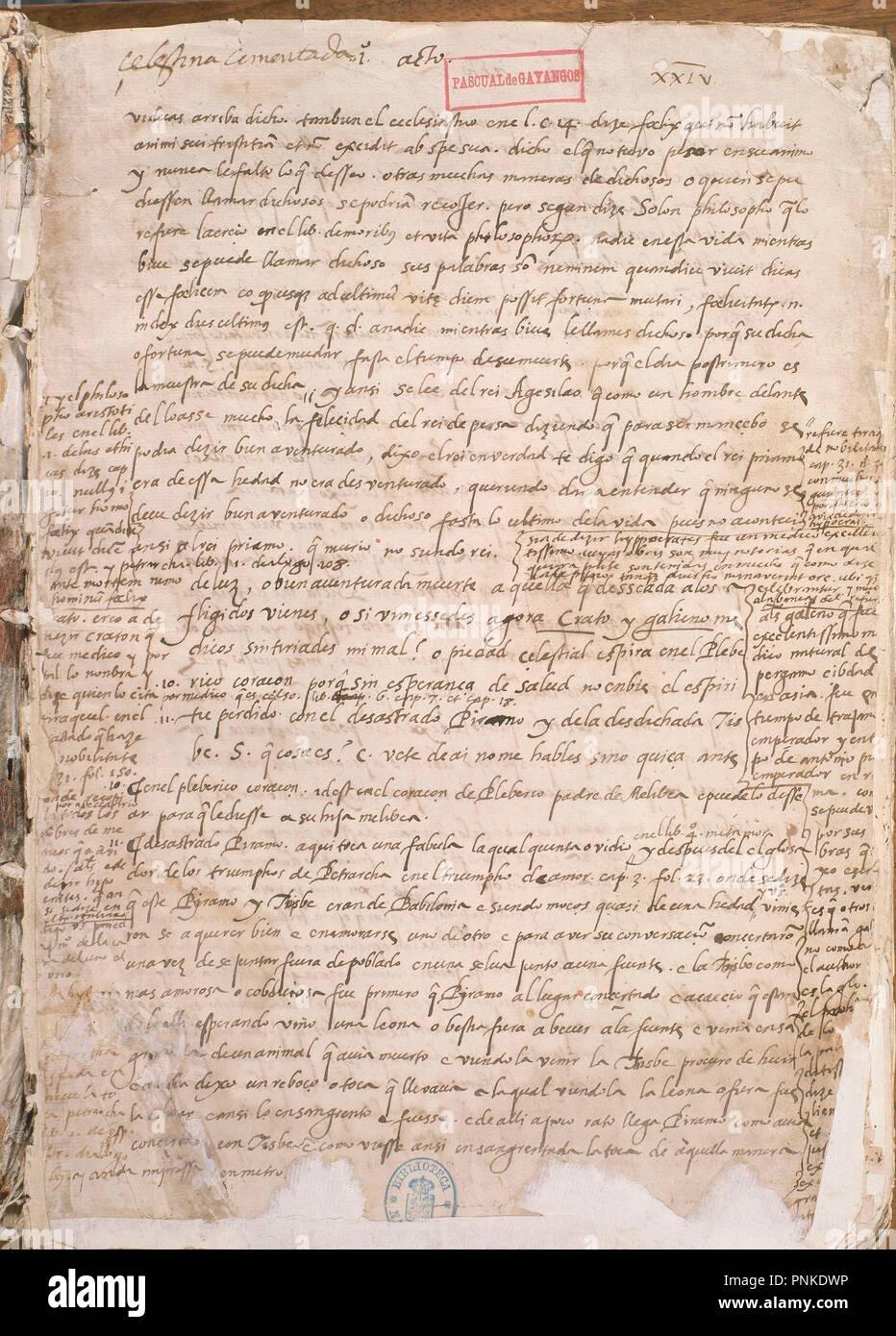 PRIMERA PAGINA DE LA CELESTINA. Author: ROJAS FERNANDO DE. Location: BIBLIOTECA NACIONAL-COLECCION. MADRID. SPAIN. - Stock Image
