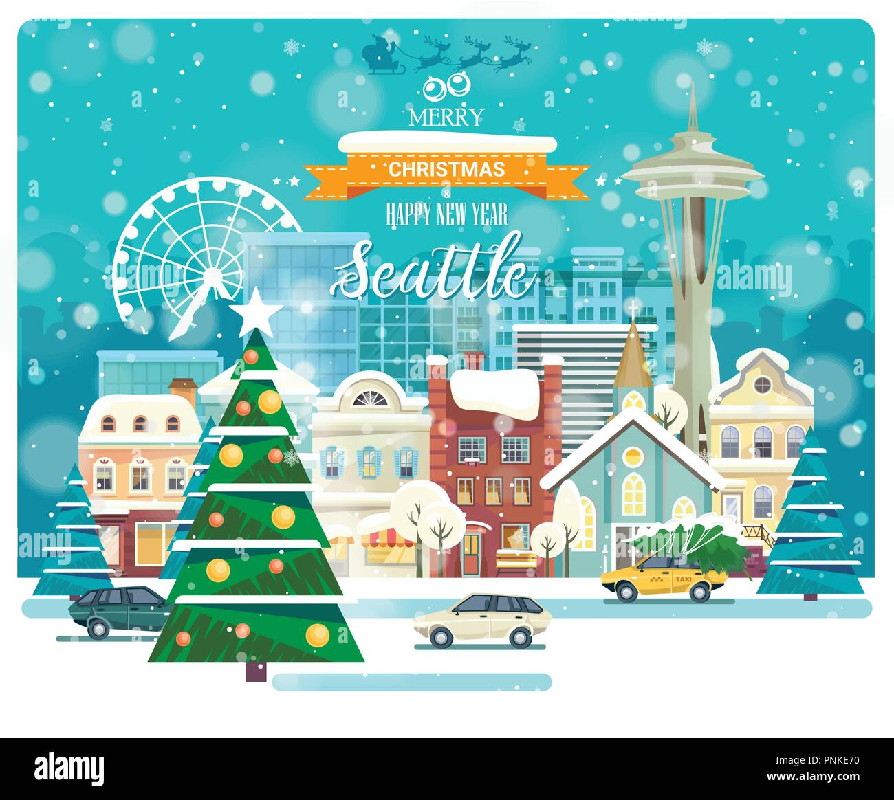 merry christmas and happy new year in seattle greeting festive card from the usa winter snowing city with cute cozy houses and snowflakes