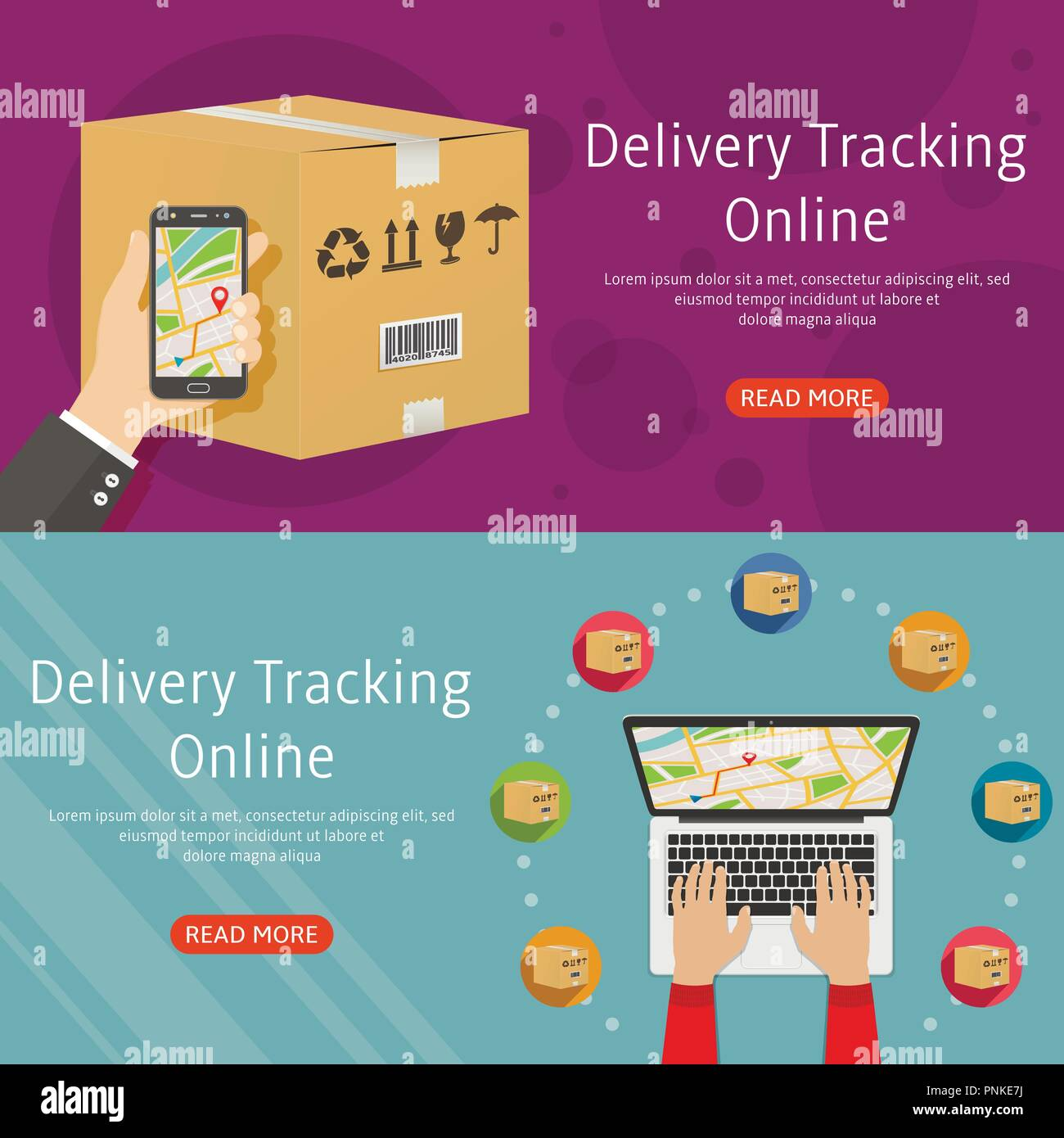 delivery online tracking two horizontal background web banners flat