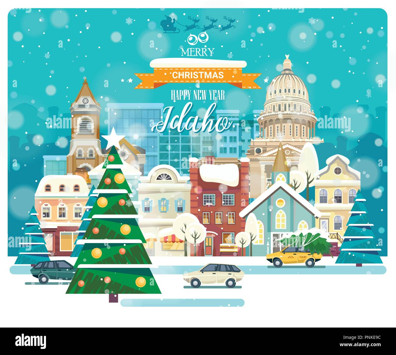 Merry Christmas and Happy New Year in Idaho. Greeting festive card from the USA. Winter snowing city with cute cozy houses and snowflakes. - Stock Vector