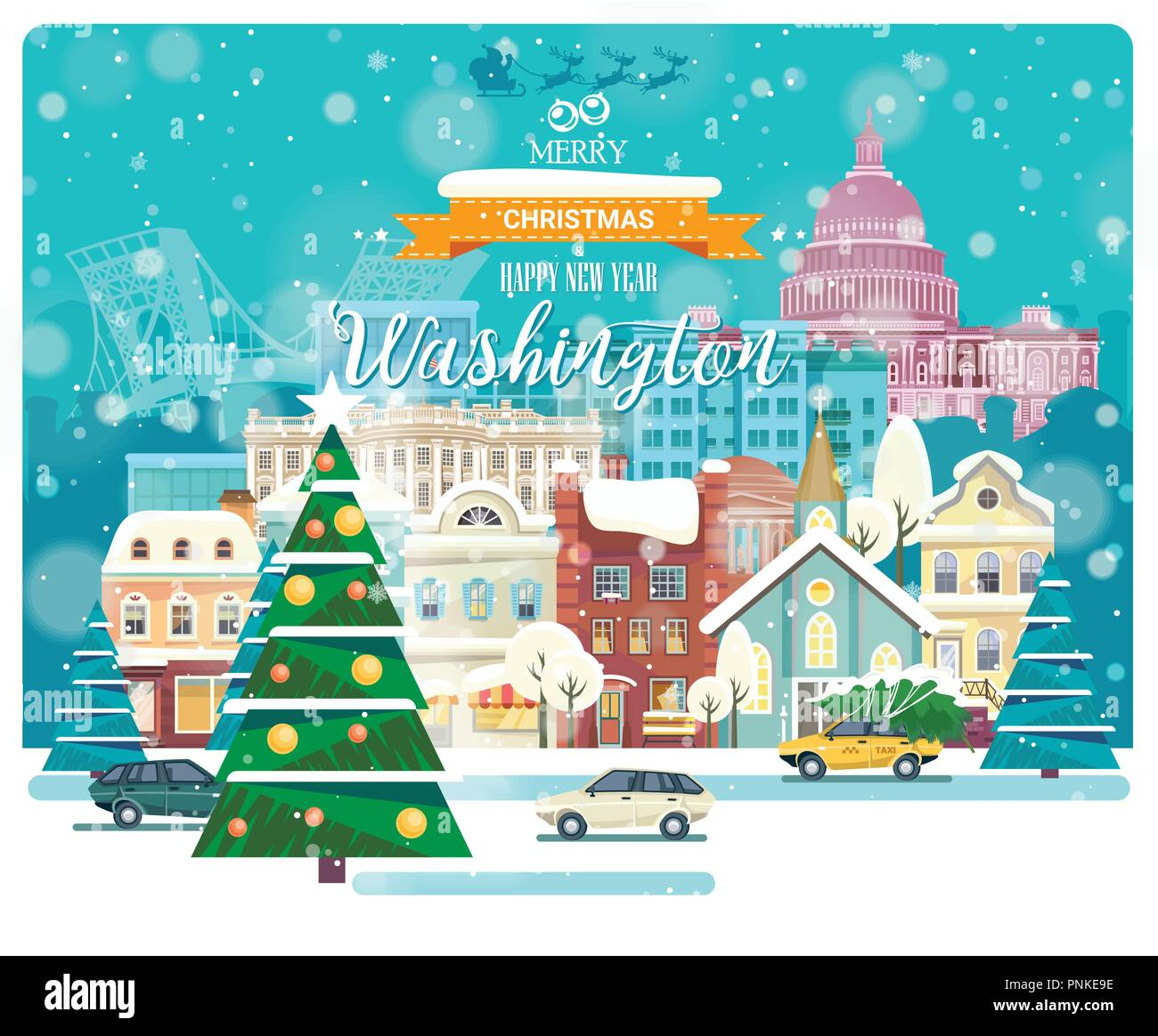 Merry Christmas and Happy New Year in Washington DC. Greeting ...