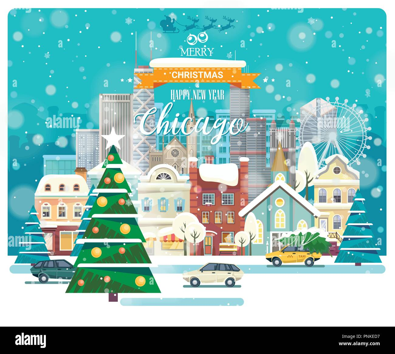 merry christmas and happy new year in chicago greeting festive card from the usa winter snowing city with cute cozy houses and snowflakes