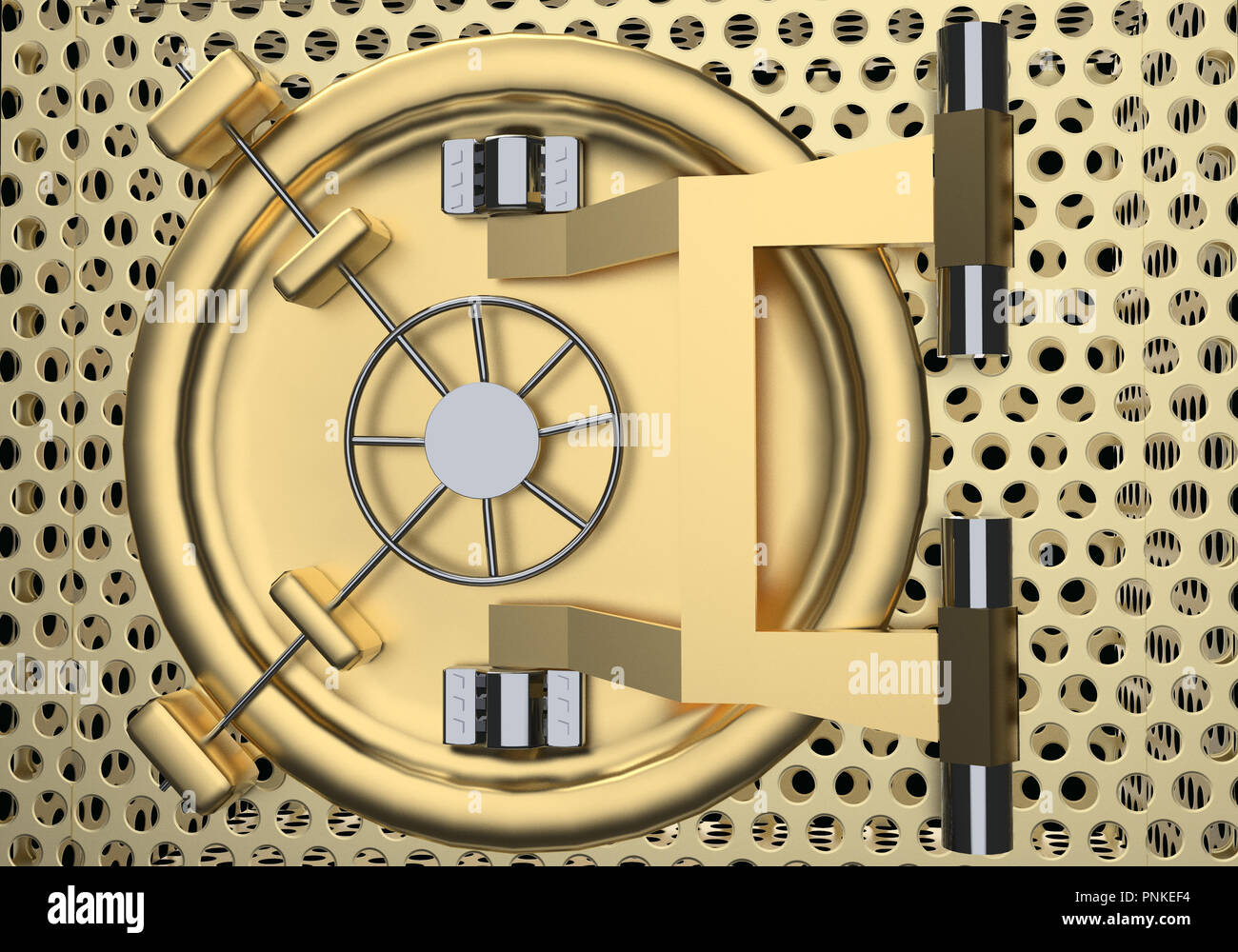 Bank Vault Door 3D rendering close up - Stock Image