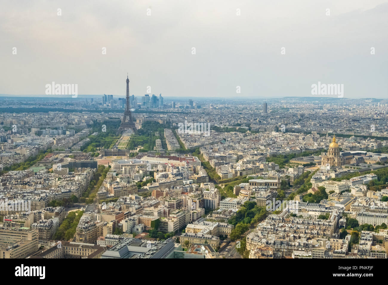 Aerial panormic view of Paris skyline with Eiffel Tower, Les Invalides and business district of Defense, as seen from Montparnasse Tower, Paris, Franc Stock Photo