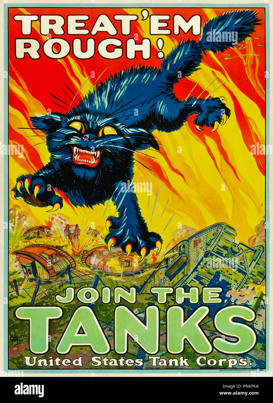 """""""TREAT'EM ROUGH! JOIN THE TANKS""""World War I recruitment poster for the United States Tank Corps, illustration by August """"Gus"""" William Hutaf (1874-1942). - Stock Image"""