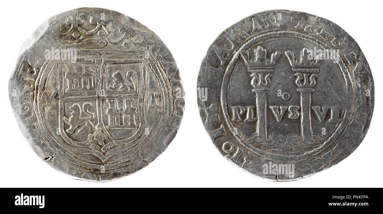 Ancient Spanish silver coin of the Kings Juana and Carlos. Coined in Mexico. Real. - Stock Image