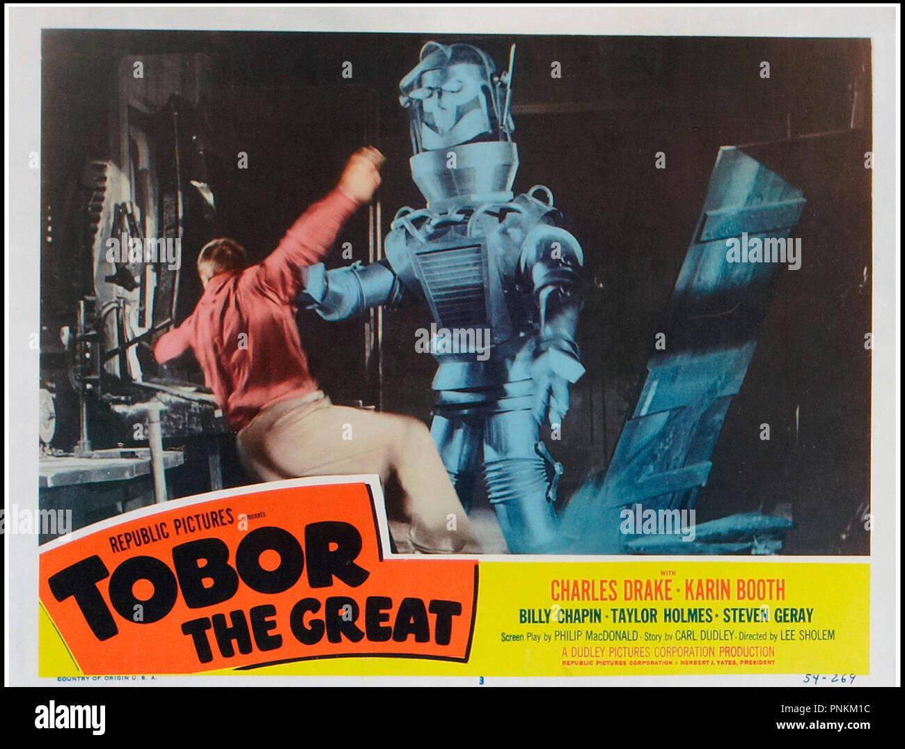 Prod DB © Republic Pictuires / DR LE MAITRE DU MONDE (TOBOR THE GREAT) de Lee Sholem 1954 USA robot, envahisseur, extra-terrestre, lobby card code 6063 - Stock Image