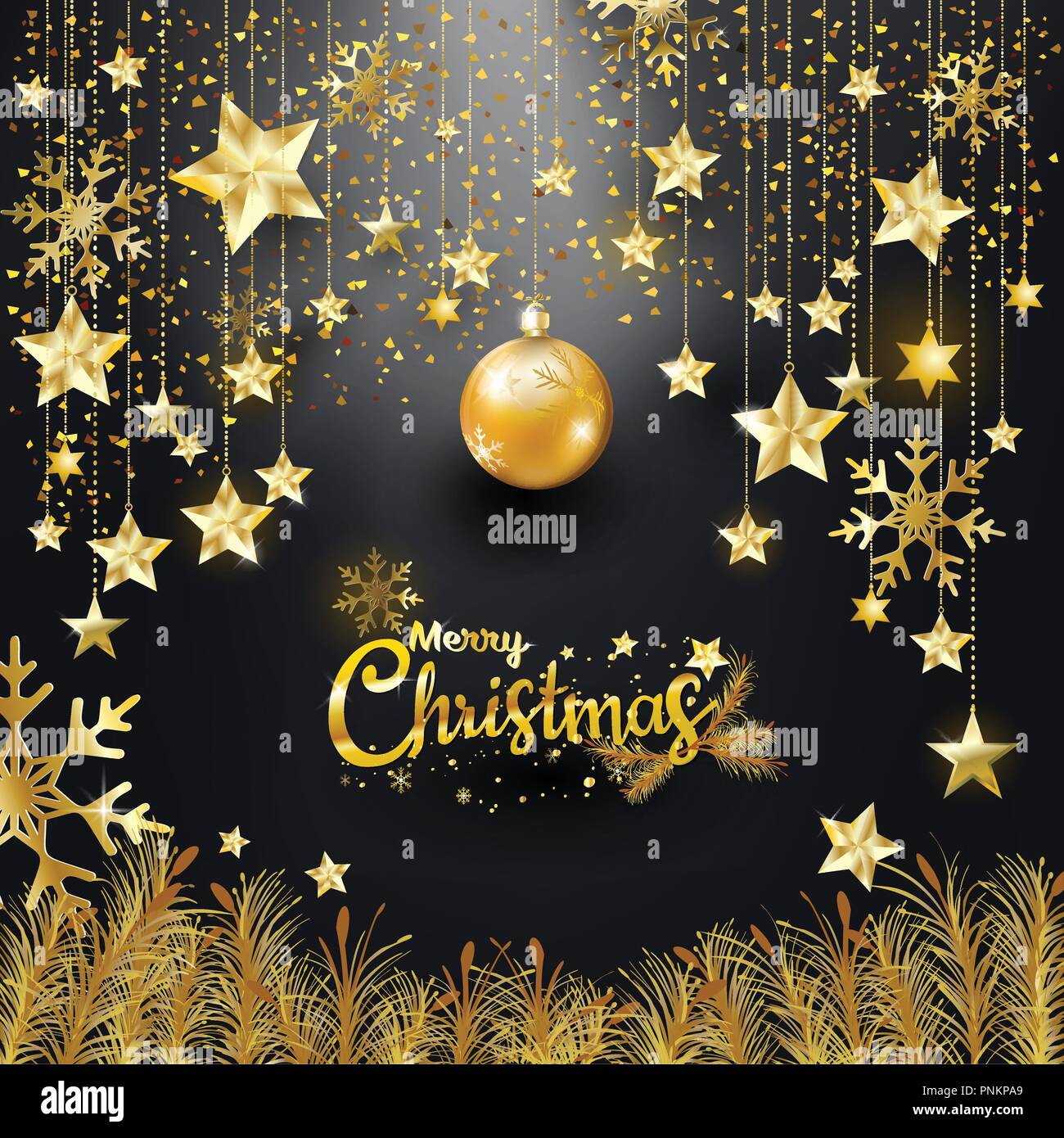 gold glitter merry christmas and happy new year typography luxury elegance design for christmas banner invitation star snowflakes hanging with diam