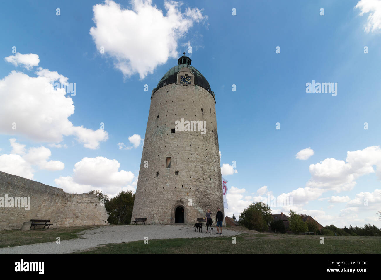Freyburg, Germany - September 15, 2018: View of the keep 'Dicker Wilhelm', the last and only preserved of three round towers that once stood on the ca - Stock Image