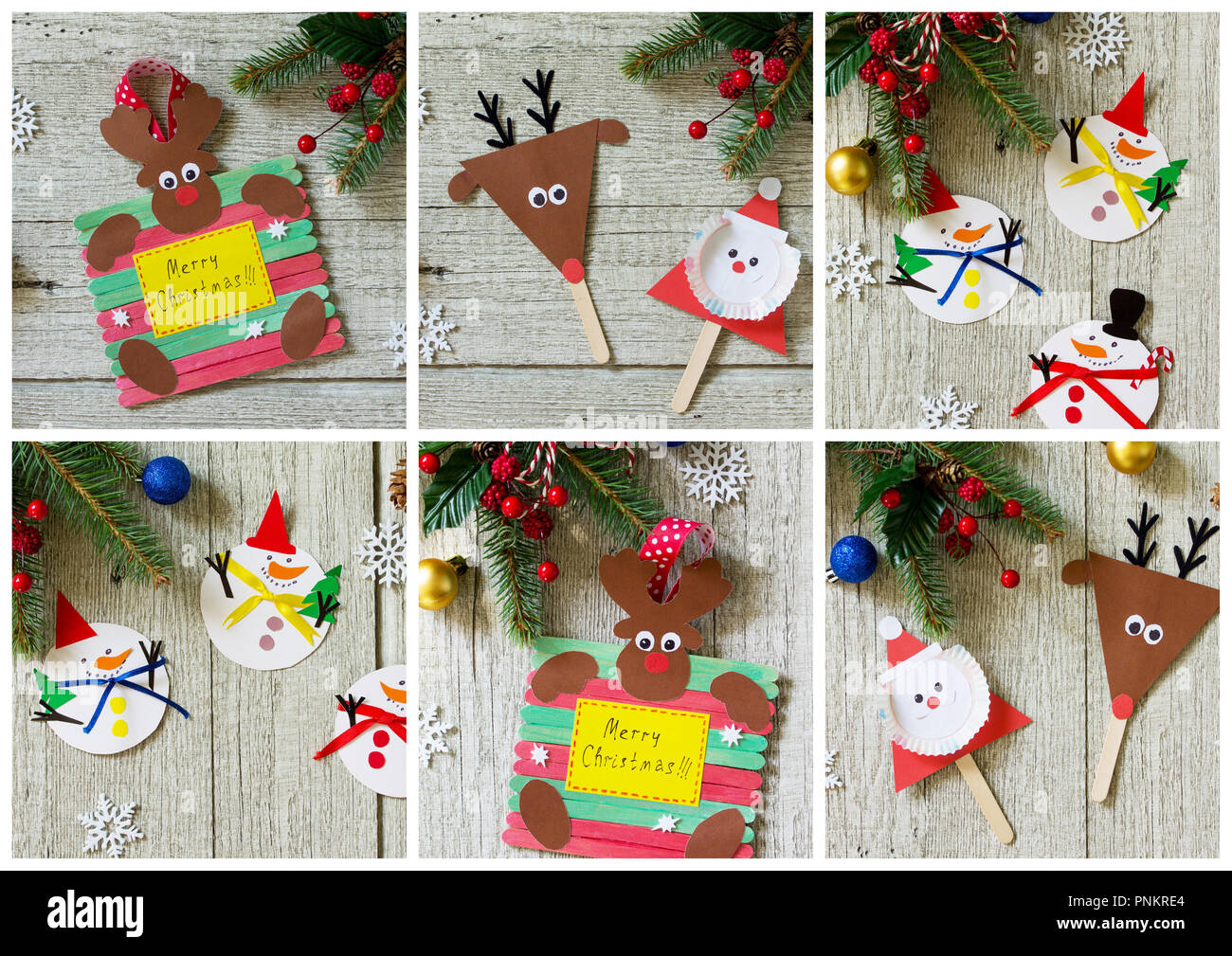 Merry Gift Collage On Wooden Table Handmade Project Of Children S