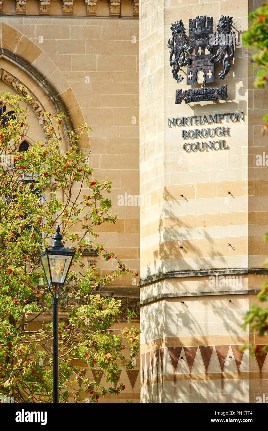 Facade of the Guildhall (mock gothic victorian building), home and offices of Northampton town Council, Northampton town centre, England. - Stock Image