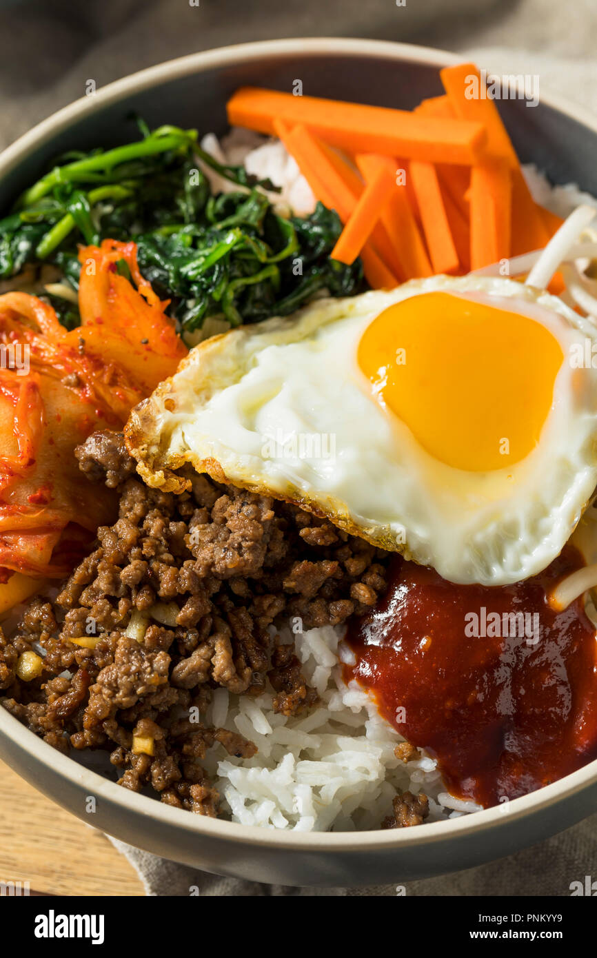 Spicy Homemade Korean Bibimbap Rice with Egg and Beef - Stock Image