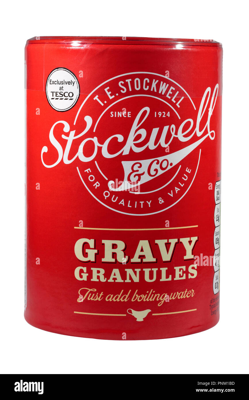 A tub of T.E. Stockwell & Co Gravy Granulles isolated on a white background exclusively at Tesco.  Just add boiling water - Stock Image