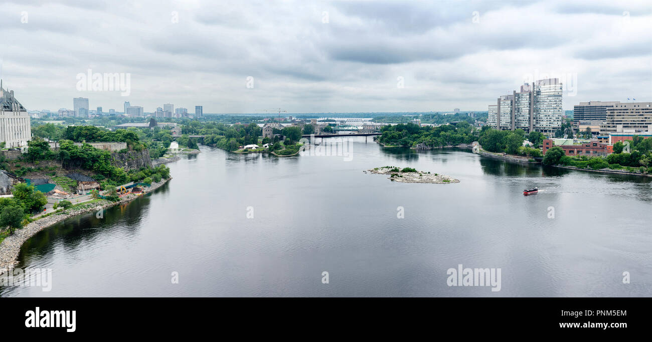 Ottawa, a panorama of a navigable river with embankments and bridges Stock Photo