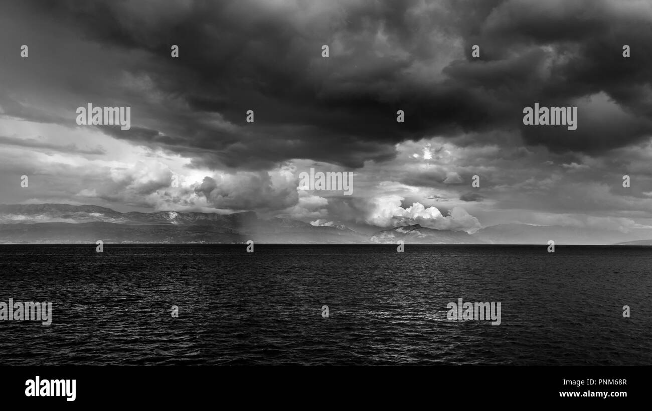 Storm in the sea of Croatia from the Ferryboat leaving Split - Stock Image