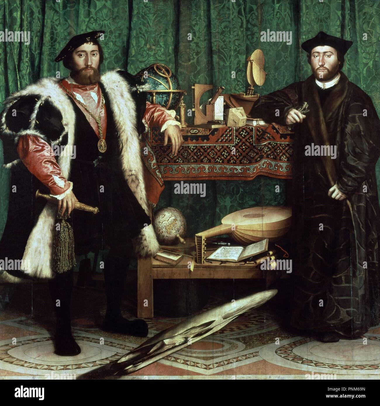 Germany school. The Ambassadors (with anamorphosis in the lower part of the painting). 1533. Oil on oak (209 x 207 cm). London, National Gallery. Author: Holbein the Younger, Hans. Location: NATIONAL GALLERY. LONDON. ENGLAND. Stock Photo