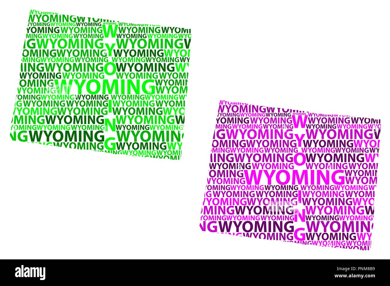 Purple State Map.Sketch Wyoming United States Of America Letter Text Map Wyoming