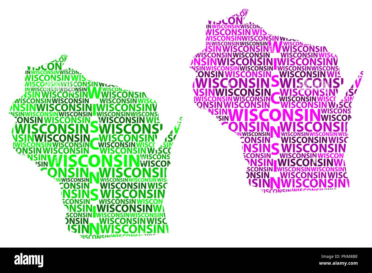 Purple State Map.Sketch Wisconsin United States Of America Letter Text Map