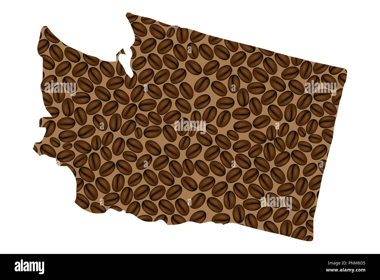 State of Washington (United States of America) -  map of coffee bean, Washington (state) map made of coffee beans, - Stock Vector