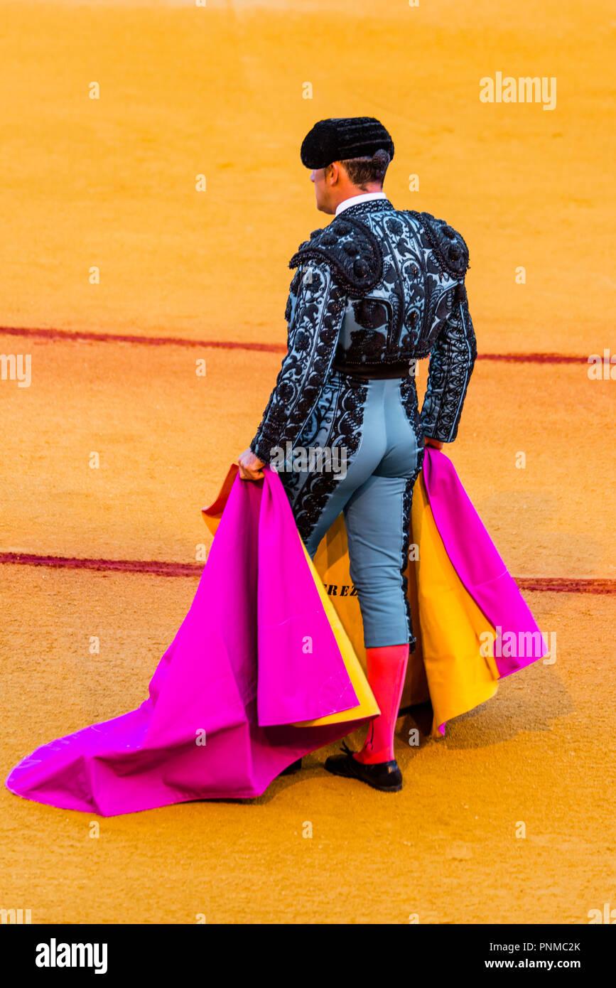 Matador, Torero or Toureiro in traditional clothing, bullfighting in an arena, Plaza de Toros de la Real de Maestranza de - Stock Image