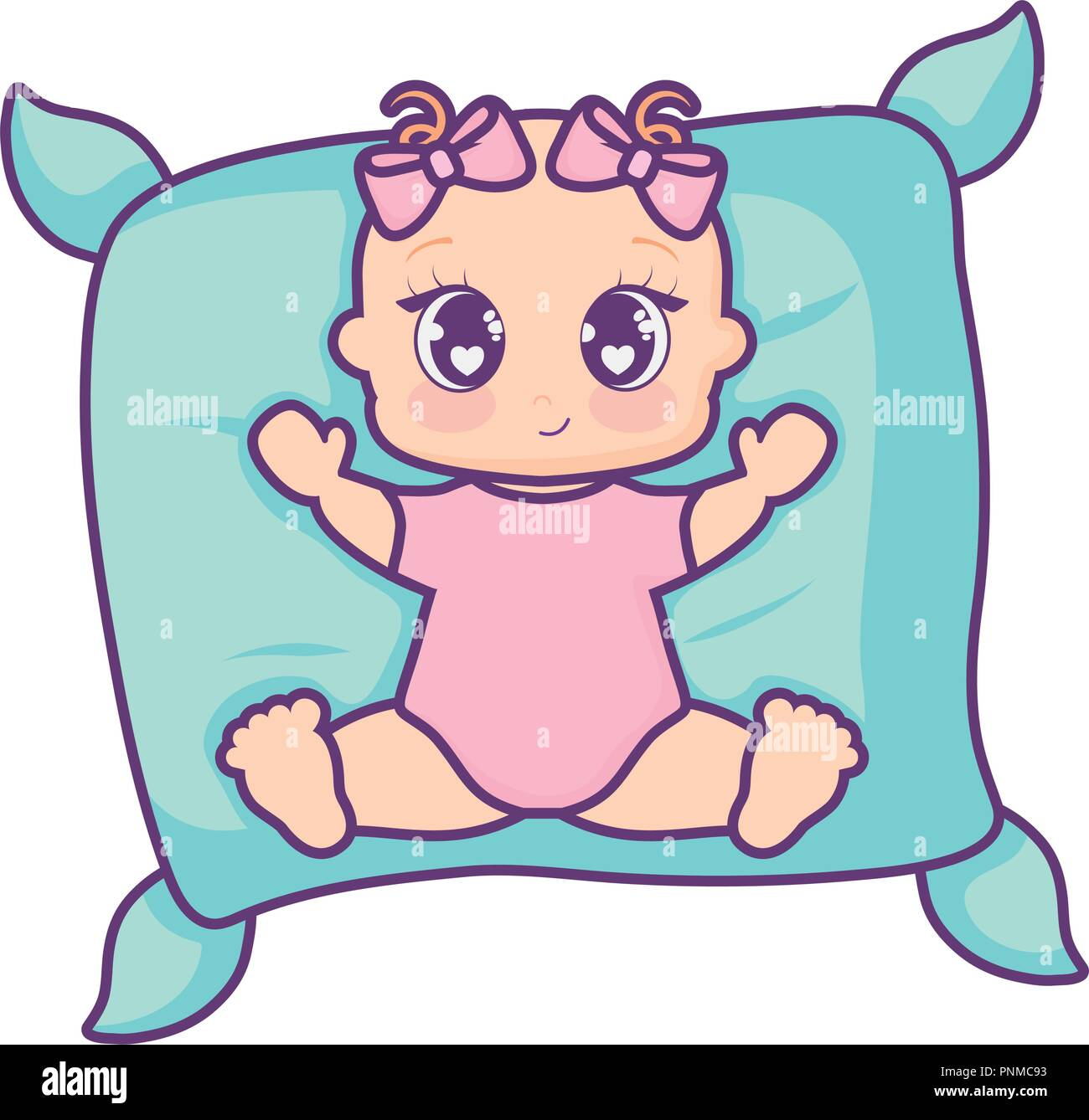Pillow With Cartoon Baby Girl Over White Background Vector