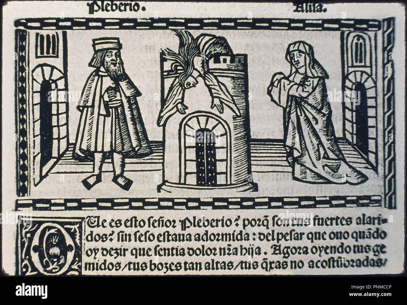 LIBRO DE CALISTO Y MELIBEA- GRABADO- DETALLE MUERTE DE MELIBEA. Author: ROJAS FERNANDO DE. Location: BIBLIOTECA NACIONAL-COLECCION. MADRID. SPAIN. - Stock Image