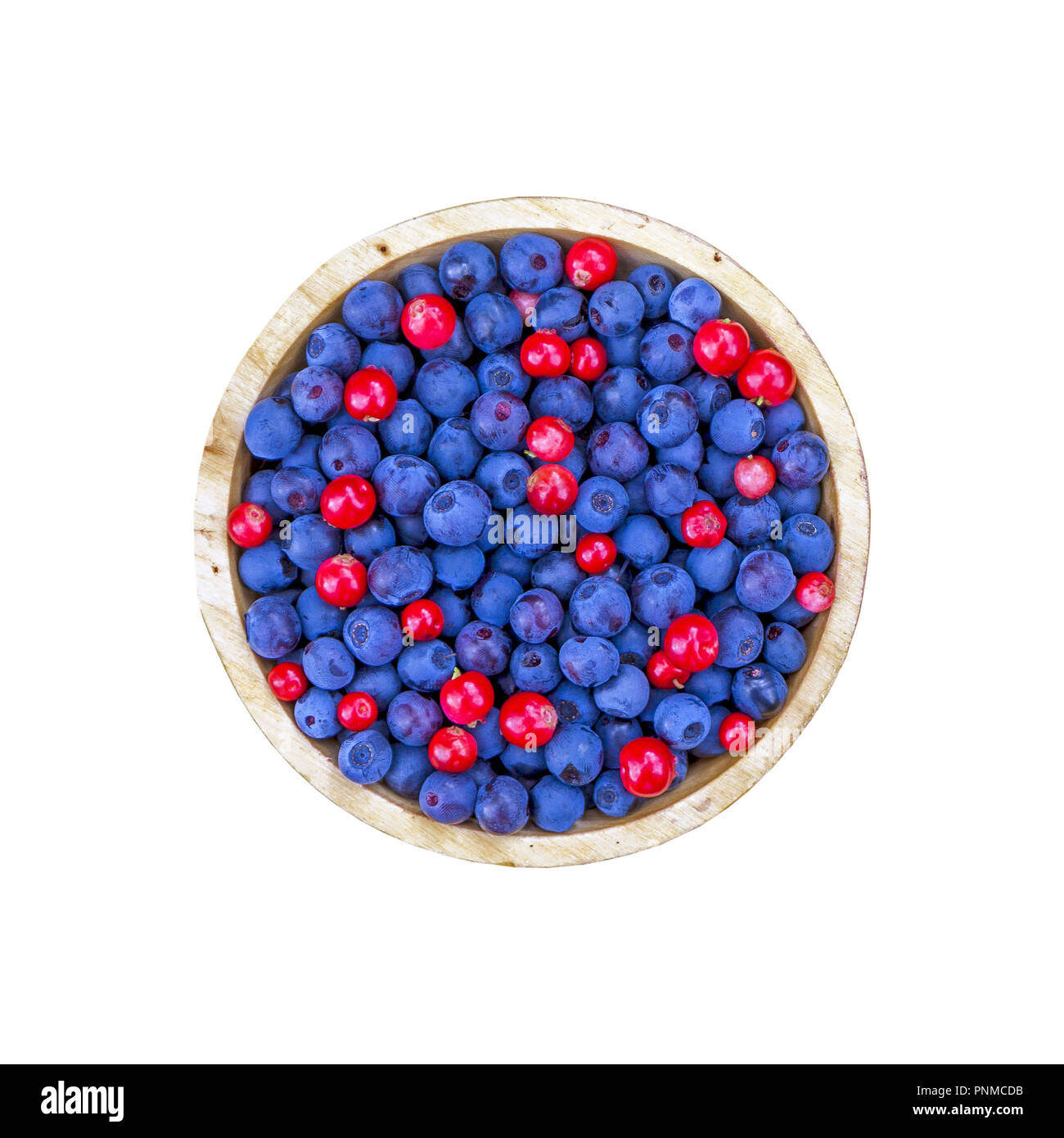 Bowl of blueberries and cranberries isolated on white background, flat lay single object - Stock Image