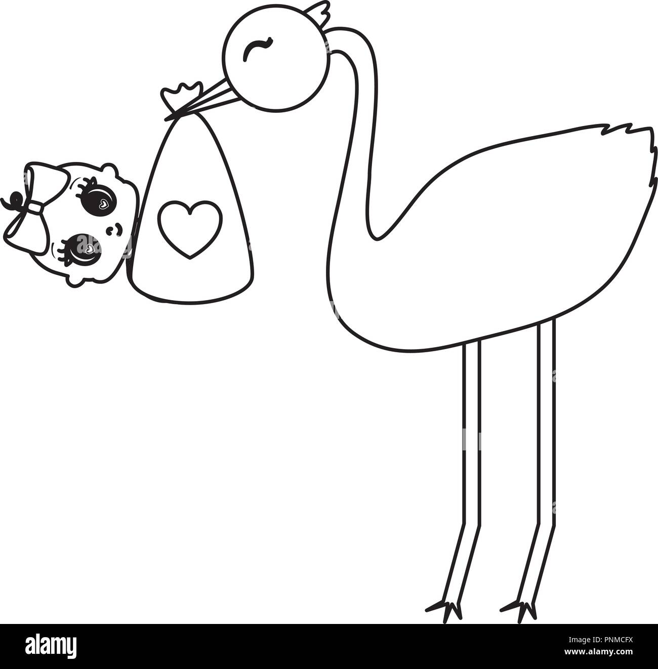 stork with baby girl over white background, vector illustration Stock Vector