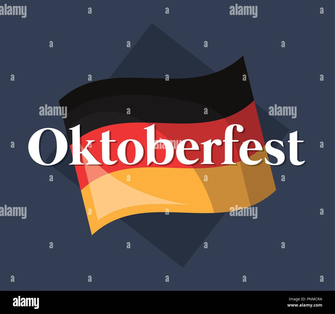 oktoberfest label with germany flag vector illustration design - Stock Image
