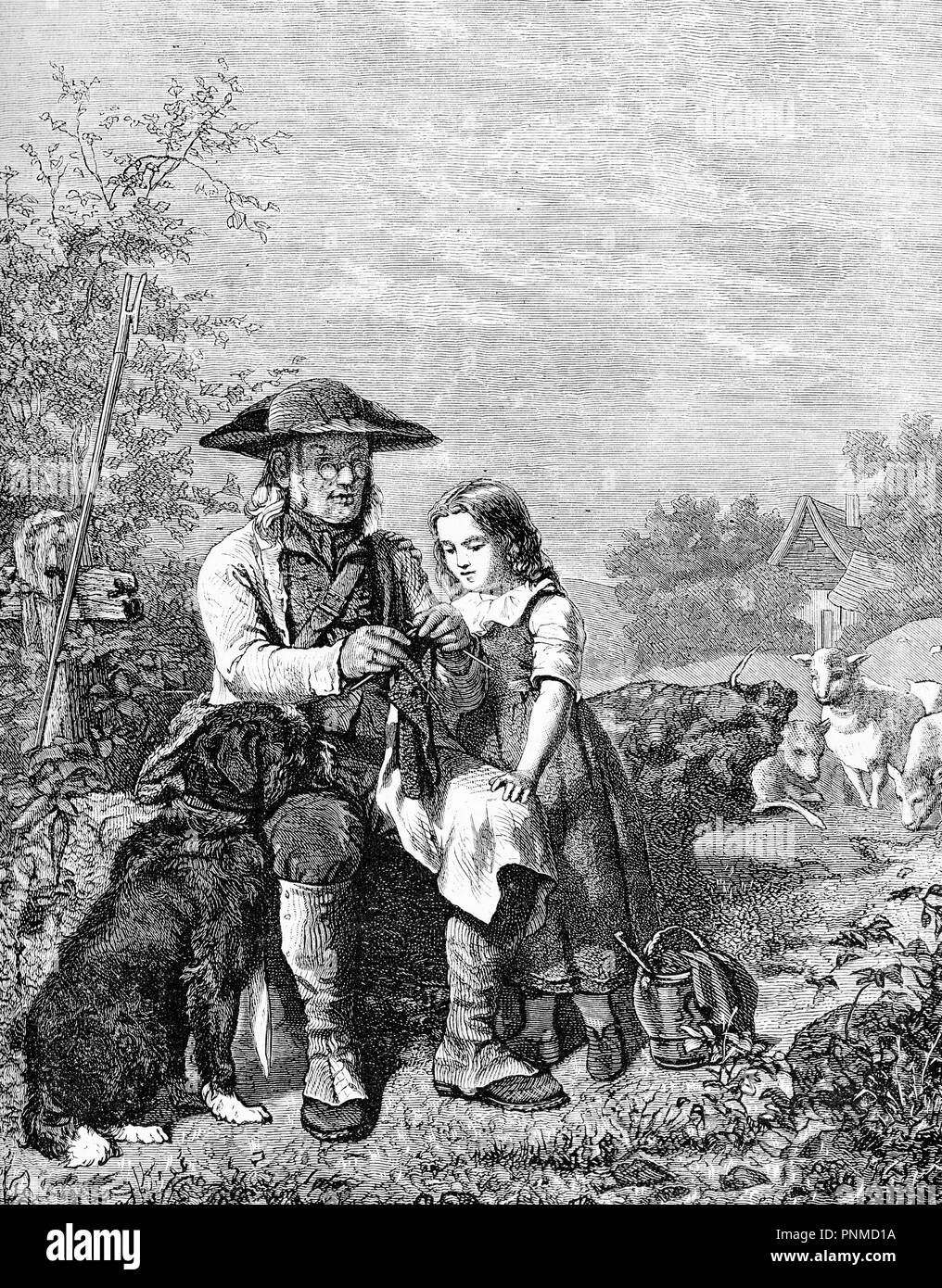 Rural life in the countryside, grandpa helps granddaughter with her needlework, sitting outside with dog and farm livestock , vintage print - Stock Image