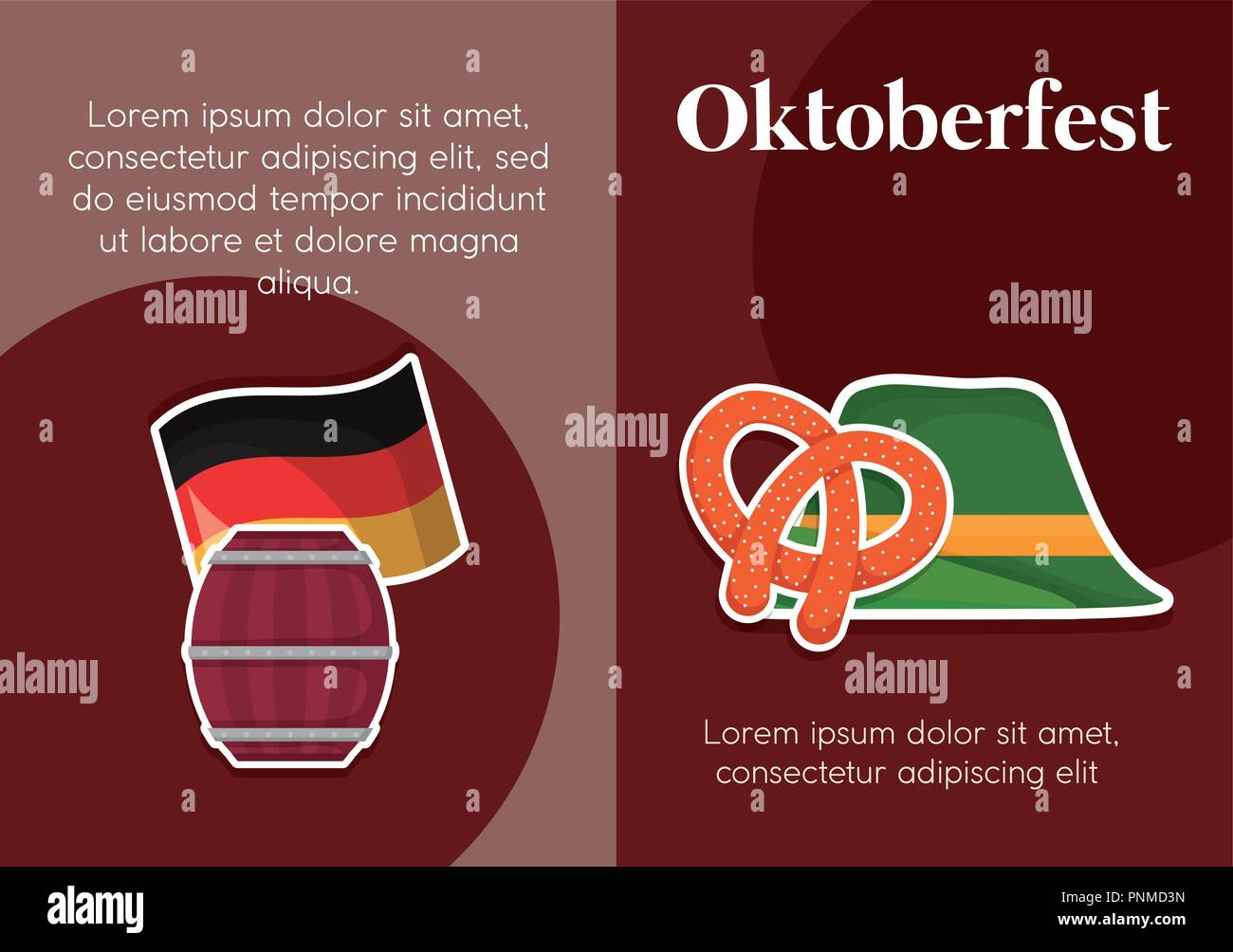 oktoberfest label with set icons vector illustration design - Stock Image