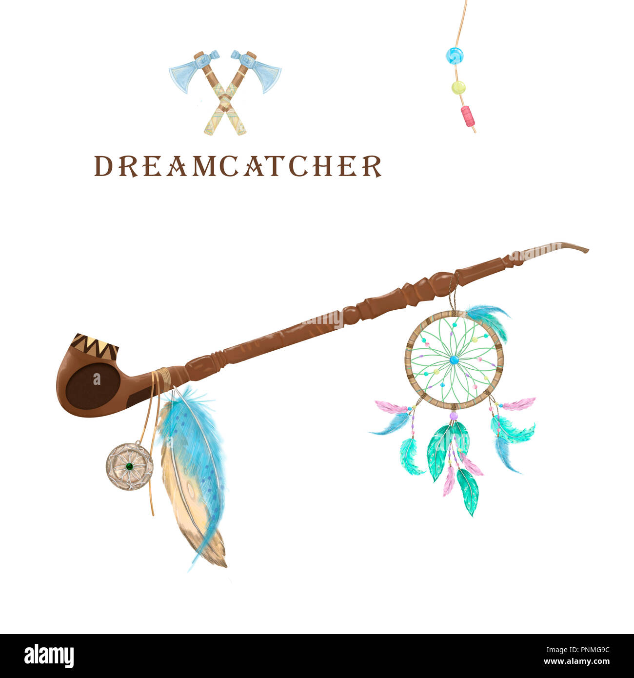 Pipe of peace with dreamcatcher, feathers and amulet digital clip art. Ceremonial Native American pipe. Color set. Two Axe. Boho Style on white background - Stock Image