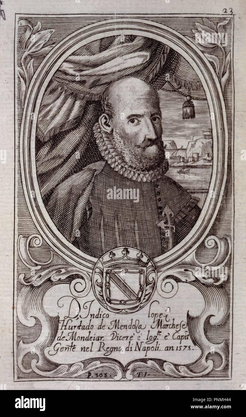 INDICO LOPEZ HURTADO DE MENDOZA-CAPITAN GRAL DE NAPOLES. Location: BIBLIOTECA NACIONAL-COLECCION. MADRID. SPAIN. - Stock Image