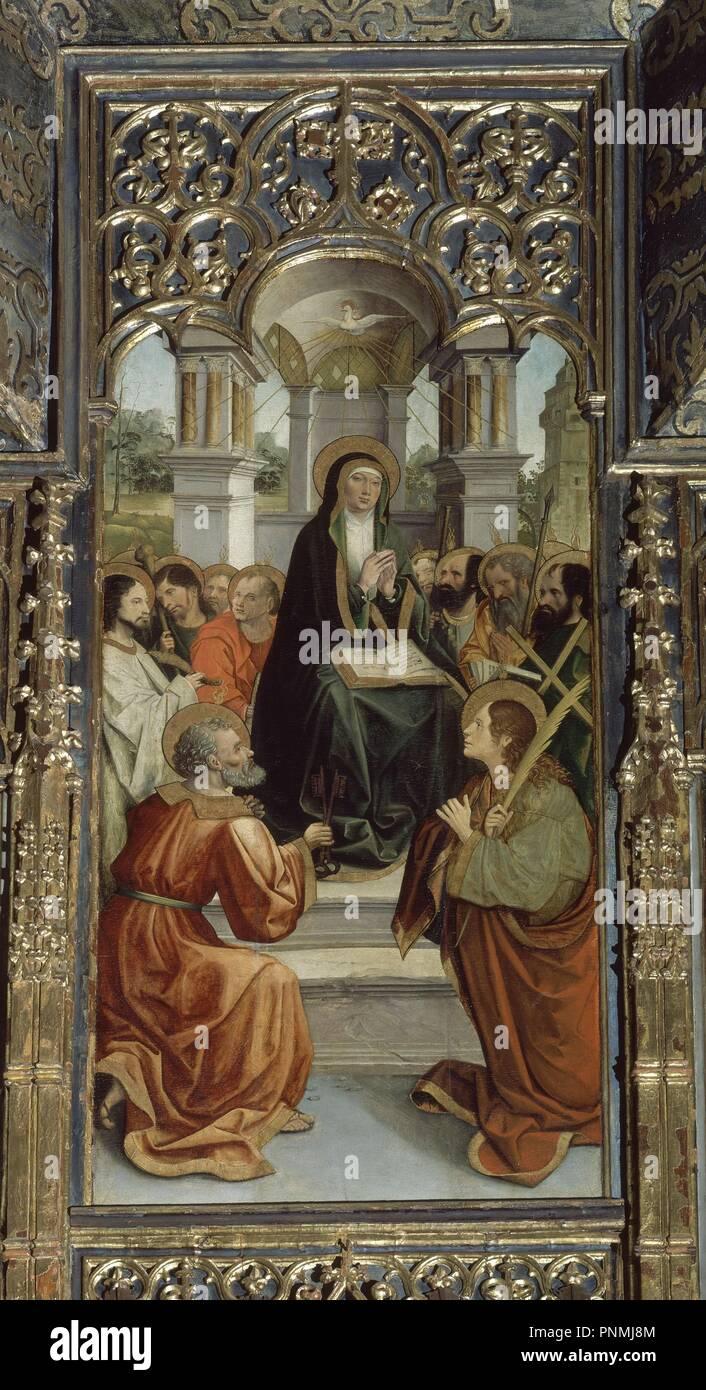 PENTECOSTES - CAPILLA DE SANTA MARIA DE JESUS - RETABLO DE MAESE RODRIGO - SIGLO XVI. Author: FERNANDEZ, ALEJO. Location: CATEDRAL-INTERIOR. Sevilla. Seville. SPAIN. - Stock Image