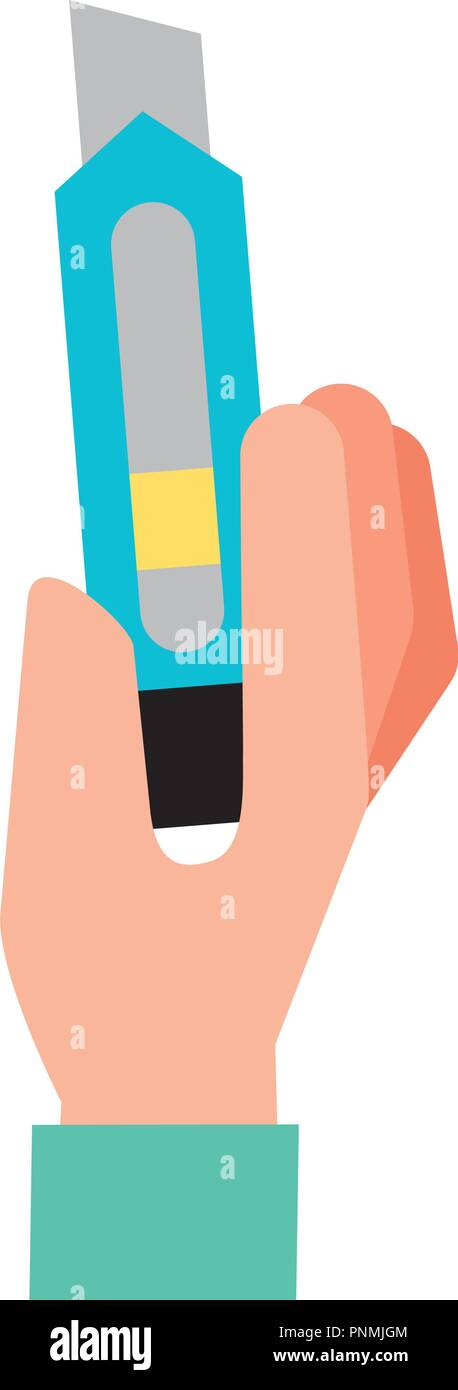 hand holding cutter graphic design - Stock Vector