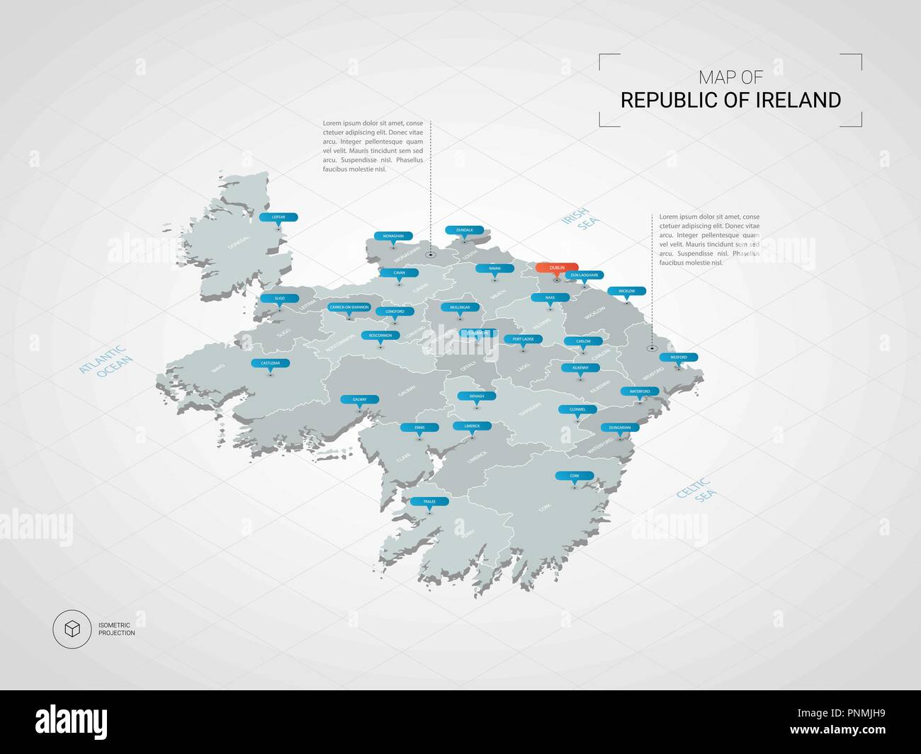 Map Of Ireland 3d.Isometric 3d Republic Of Ireland Map Stylized Vector Map