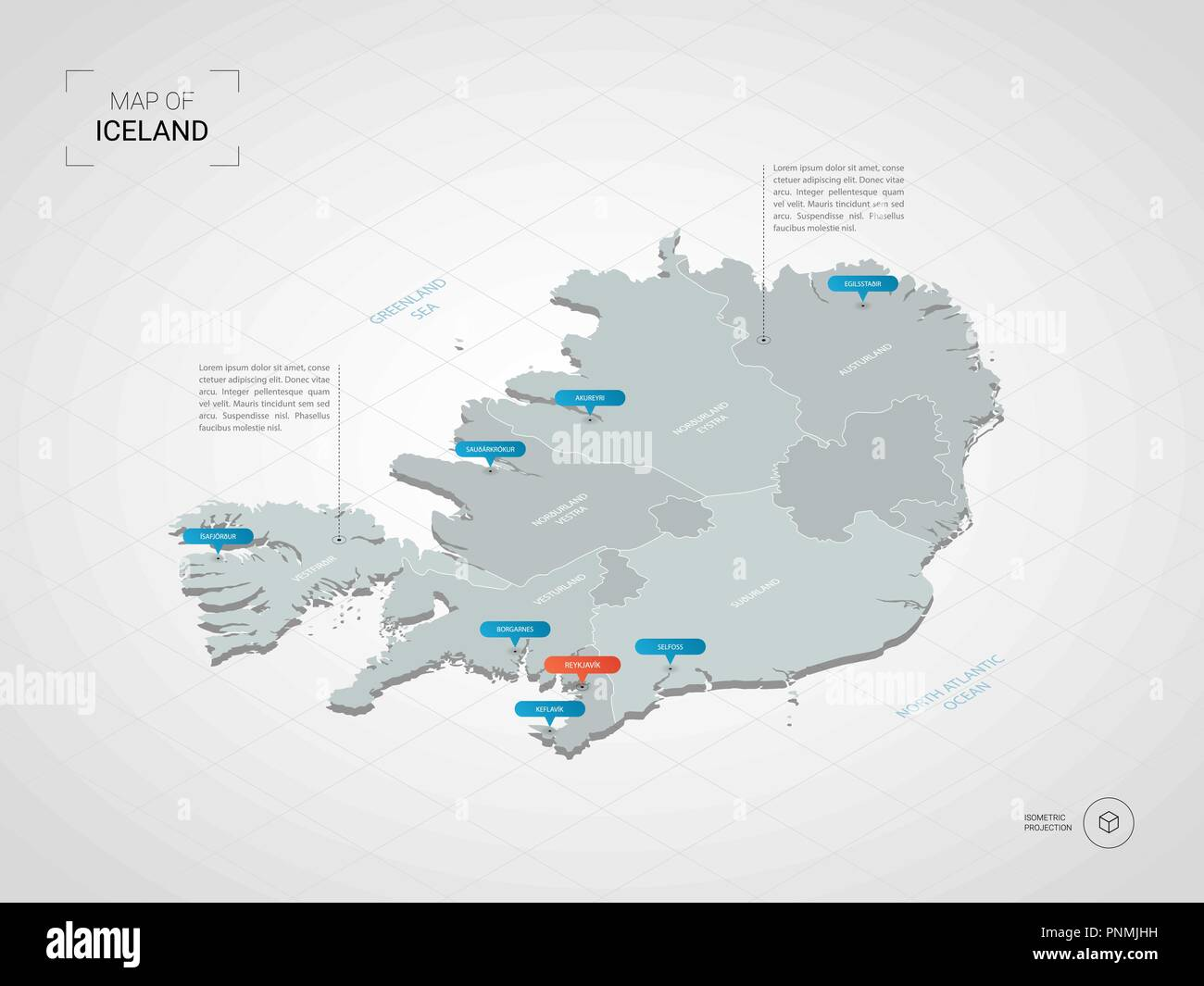 isometric 3d iceland map stylized vector map illustration with