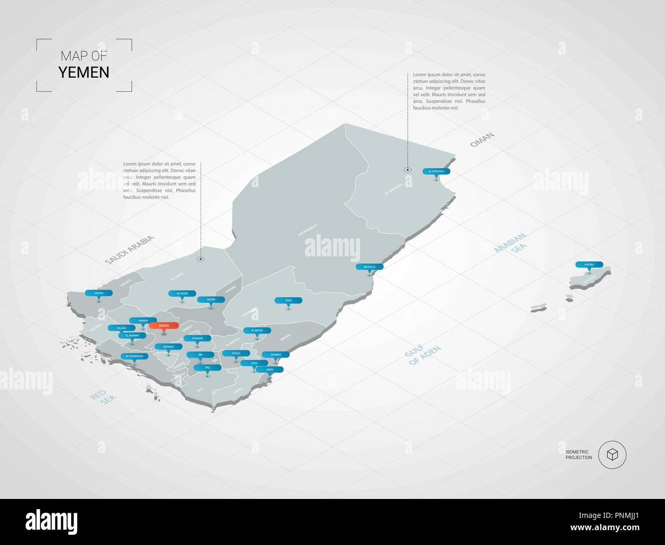 Isometric  3D Yemen map. Stylized vector map illustration with cities, borders, capital, administrative divisions and pointer marks; gradient backgrou - Stock Vector