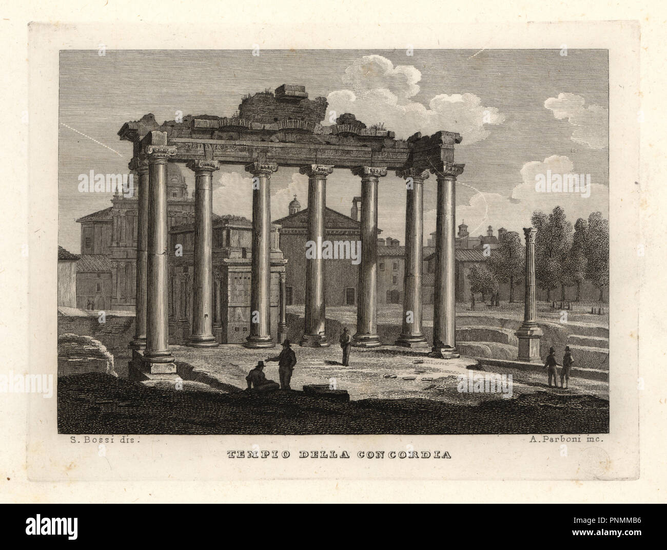 View of the Temple of Concord, Tempio della Concordia, Rome. Copperplate engraving by A. Parboni after an illustration by Sylvestro Bossi from Achille Parboni's New Collection of Principal Views Ancient and Modern of the City of Rome, 1830. - Stock Image