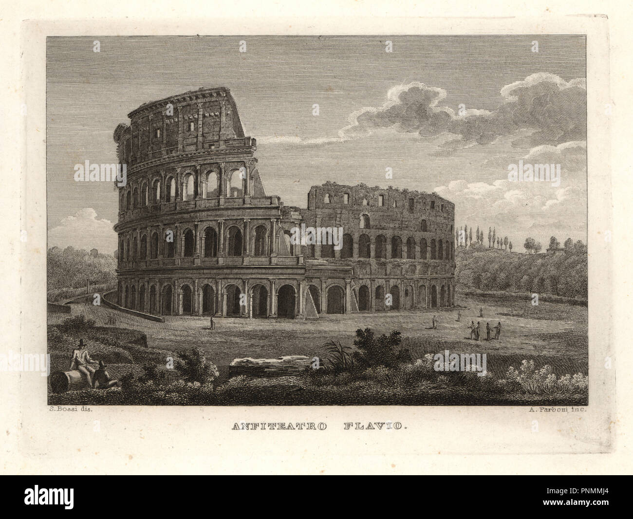 View of the ruins of the Flavian Amphitheater, Anfiteatro Flavio, Rome. Copperplate engraving by A. Parboni after an illustration by Sylvestro Bossi from Achille Parboni's New Collection of Principal Views Ancient and Modern of the City of Rome, 1830. - Stock Image