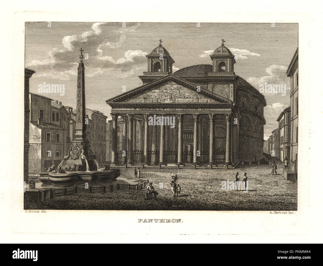 View of the Pantheon and the Fontana del Pantheon, Rome. Copperplate engraving by A. Parboni after an illustration by Sylvestro Bossi from Achille Parboni's New Collection of Principal Views Ancient and Modern of the City of Rome, 1830. - Stock Image
