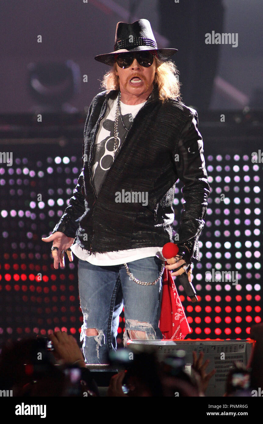 Axl Rose with Guns N' Roses performs in concert at the