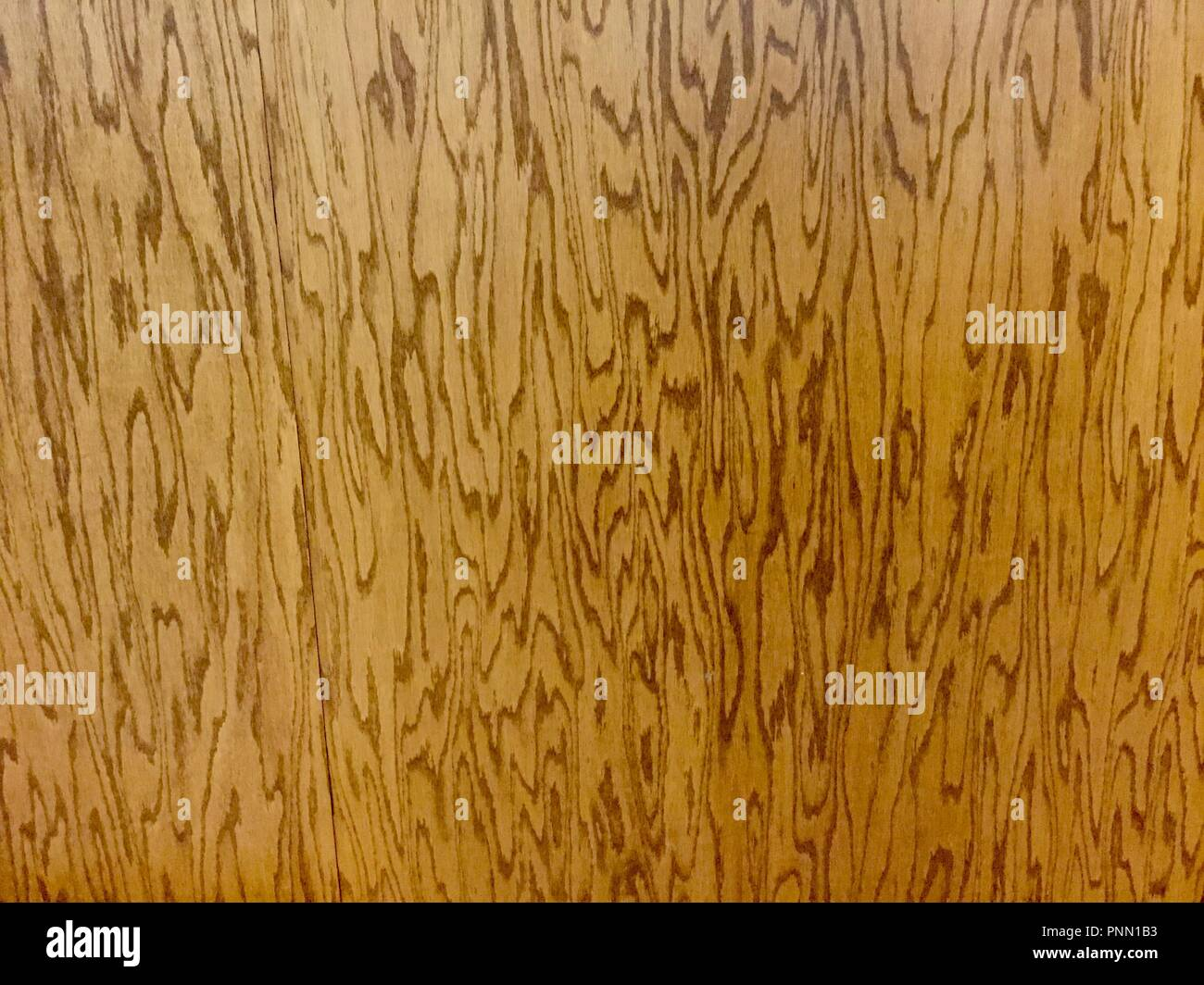 Wooden wall with polished finish showing wood grain. - Stock Image