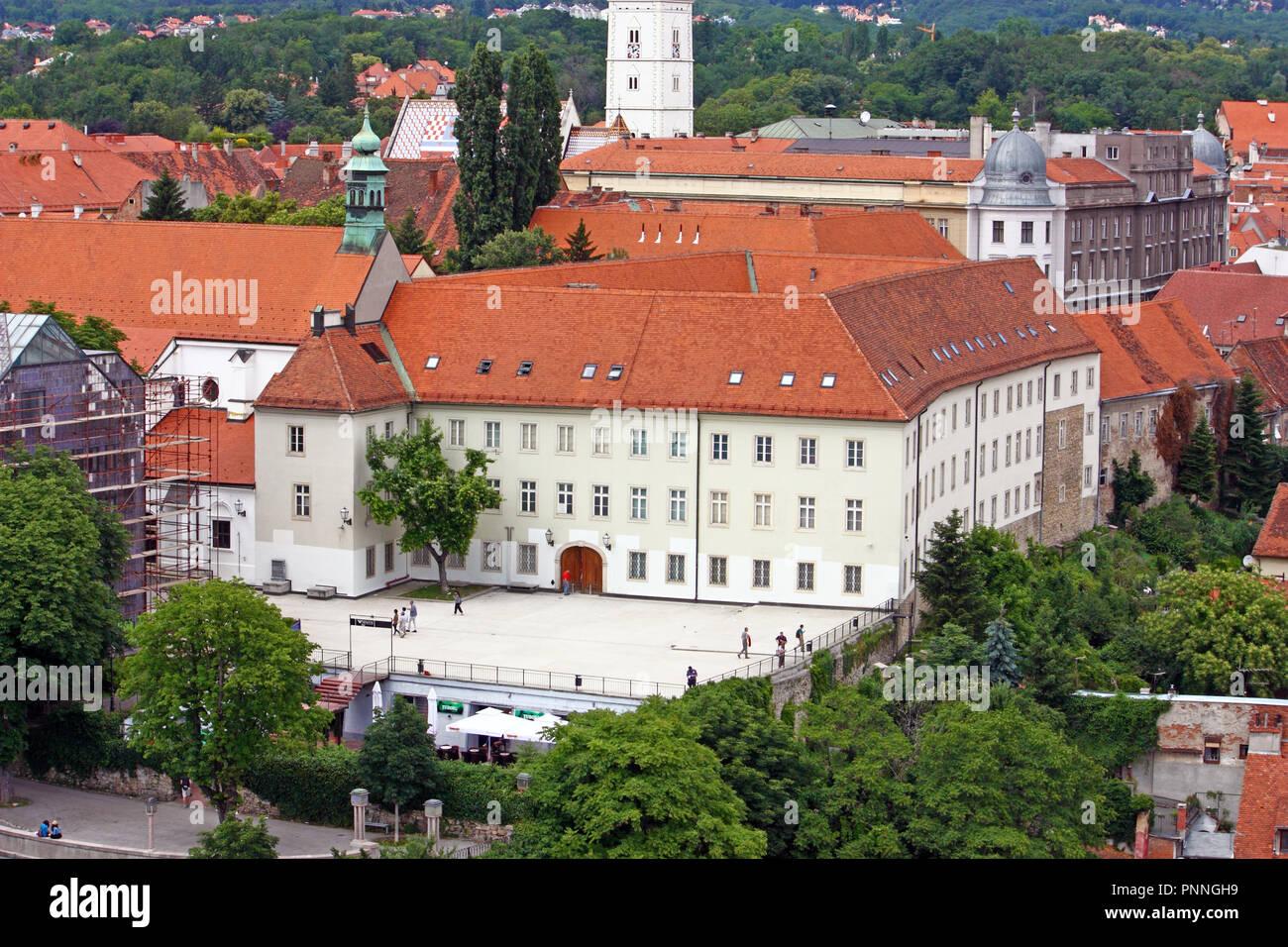 CROATIA ZAGREB, 12 JUNE 2013: View of Klovicevi Dvori Gallery, is an art gallery in Zagreb, Croatia Stock Photo
