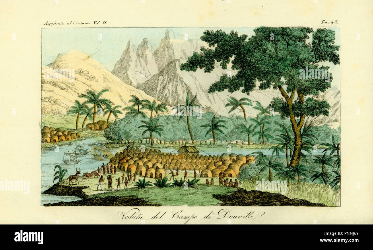 View of Jean-Baptiste Douville's camp on the Congo River at the village of Quitumba, Angola. Handcoloured copperplate engraving after Jean-Baptiste Douville from Giulio Ferrario's Costumes Ancient and Modern of the Peoples of the World, Florence, 1834. - Stock Image