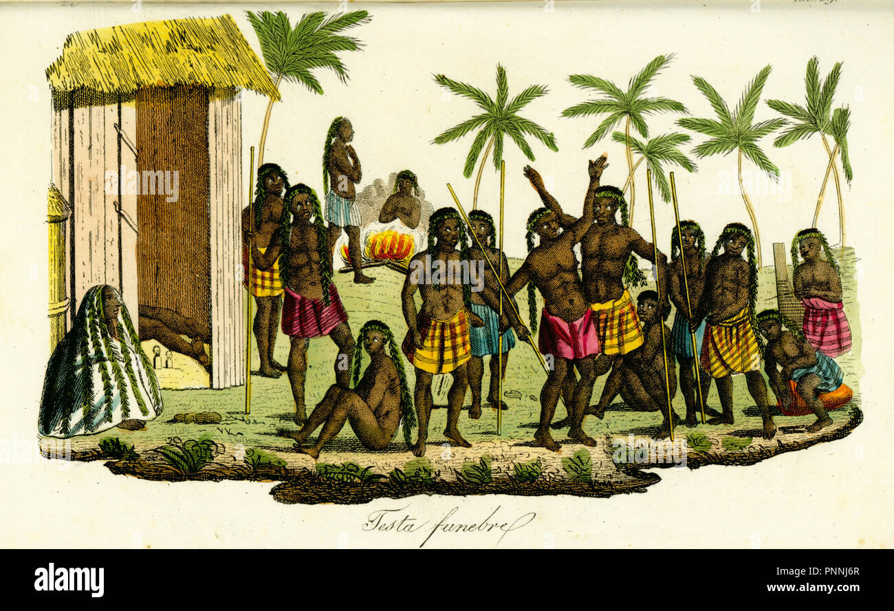 Funeral wake among the Luanda people of Angola. Mourners wail as visitors arrive to view the corpse in a hut, the women wearing fragrant leaves on their heads, while men with spears dance to music from drums and traditional instruments. Handcoloured copperplate engraving after Jean-Baptiste Douville from Giulio Ferrario's Costumes Ancient and Modern of the Peoples of the World, Florence, 1834. - Stock Image