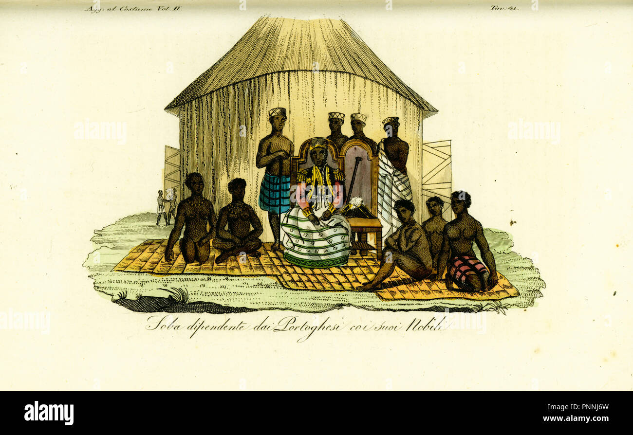 Audience with Soba Bango, Regent of Golungo Alto, Angola, and his nobles. The regent wears a military jacket with captain's epaulettes over a Luanda skirt. Handcoloured copperplate engraving after Jean-Baptiste Douville from Giulio Ferrario's Costumes Ancient and Modern of the Peoples of the World, Florence, 1834. - Stock Image