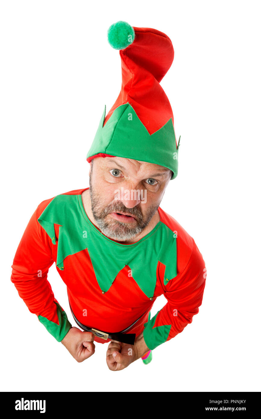 An angry and mischievous Christmas elf. - Stock Image